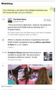 Watching, bloco de informações de momento no The New York Times